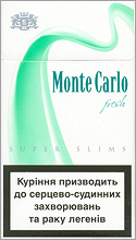 Monte Carlo Super Slims Fresh 100`s Cigarette Pack