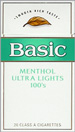 BASIC ULTRA LIGHT MENTHOL BOX 100